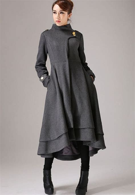 womens swing coat wool swing coat womens coats gray coat wool coat plus size