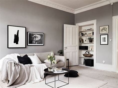 a swedish home with neutral colors gray white and black