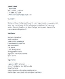Diesel Mechanic Resume Exle by Mechanic Resume Template 6 Free Word Pdf Document Downloads Free Premium Templates