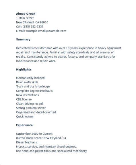 Heavy Equipment Mechanic Cover Letter by Sle Resume Of Heavy Equipment Mechanic