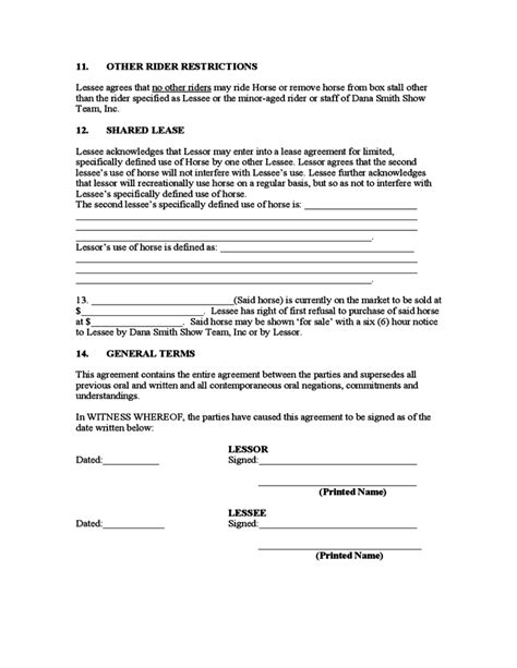 printable horse lease agreement sle horse lease agreement free download