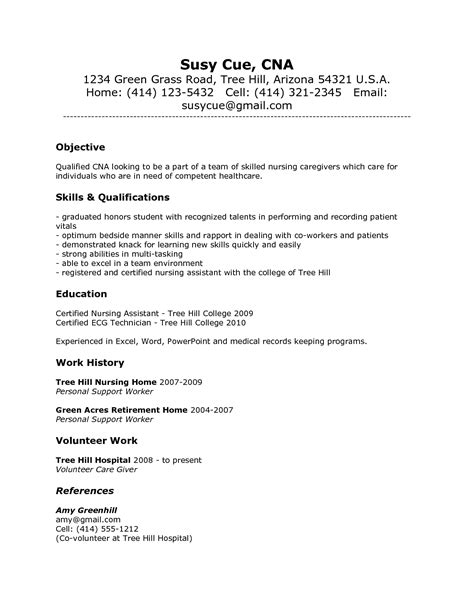 cna resume without experience resume ideas
