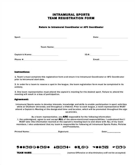 Sports C Registration Form Template Registration Form Templates