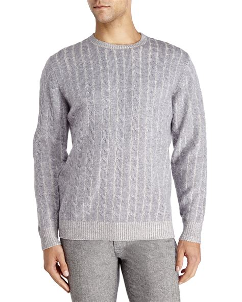 grey cable knit sweater mine gray plaited cable knit wool sweater for lyst