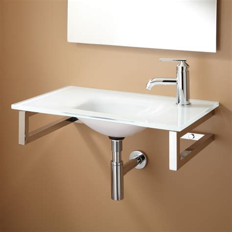 wall hung stainless steel sinks orcas wall mount glass bathroom