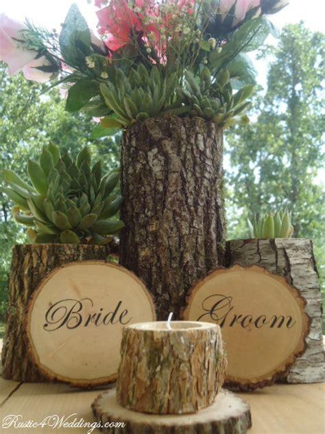 Rustic 4 Weddings Bride And Groom Wood Slice Signs For Rustic Wood Wedding Centerpieces
