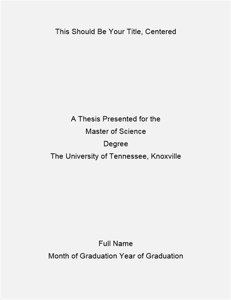 title page dissertation formatting of the title page the graduate school