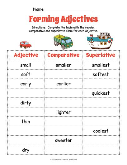 printable games with adjectives free printable transportation adjective forms worksheet