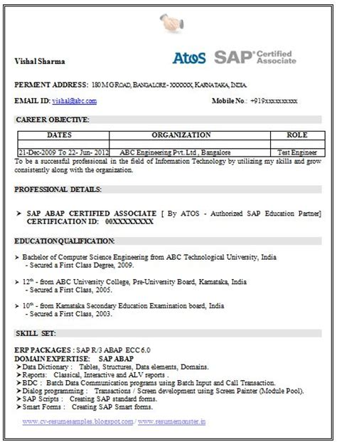 Resume Computer Skills Sap resume template of a sap certified professional with great