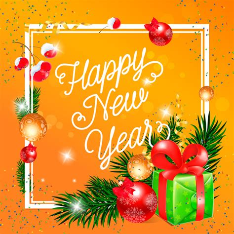free new year greeting card design happy new year greeting card yellow vector vector card