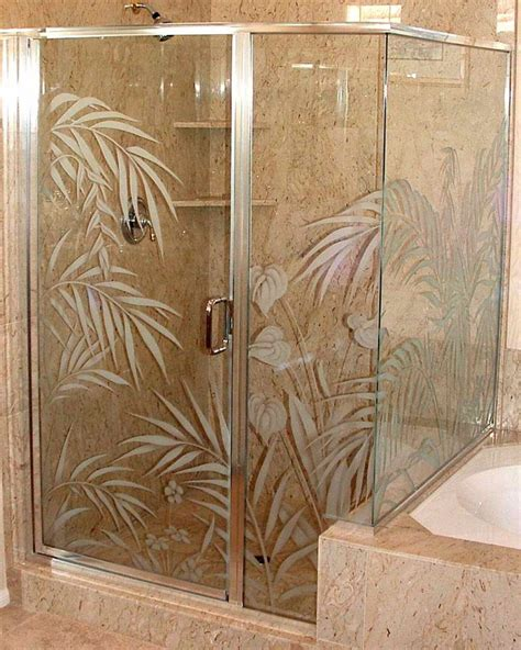 Etched Glass Shower Door Designs Etched Glass Shower Door Enclosure Ferns Anthurium Design Pinterest Shower Doors Doors