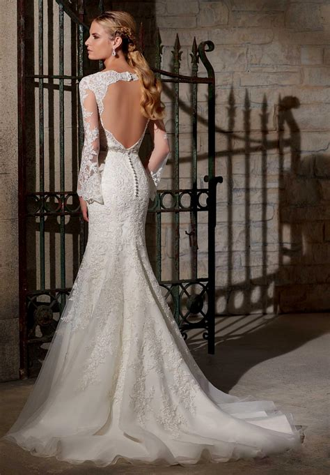 lace open back wedding dress Naf Dresses