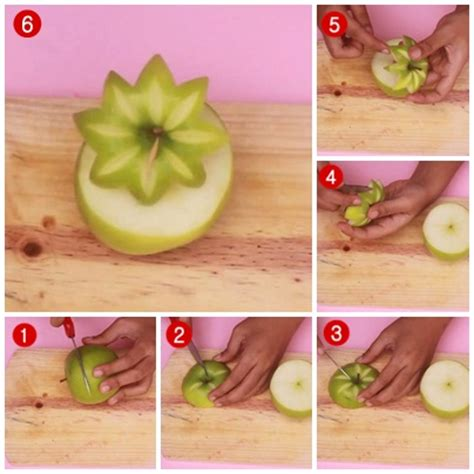 Alat Ukir Piring cara membuat garnish dari buah apel bentuk bunga