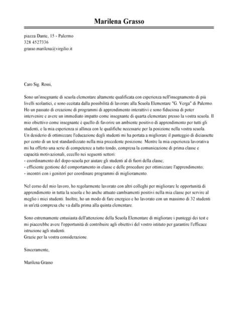 esempi di lettere motivazionali esempio lettera di presentazione insegnante modello