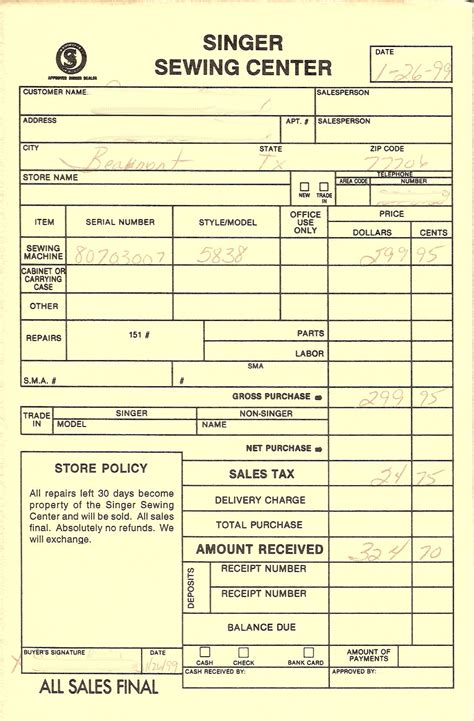 Original Receipt Template by Vintage Custom Style