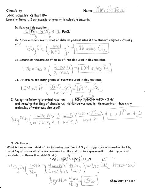 stoichiometry worksheet with answers abitlikethis