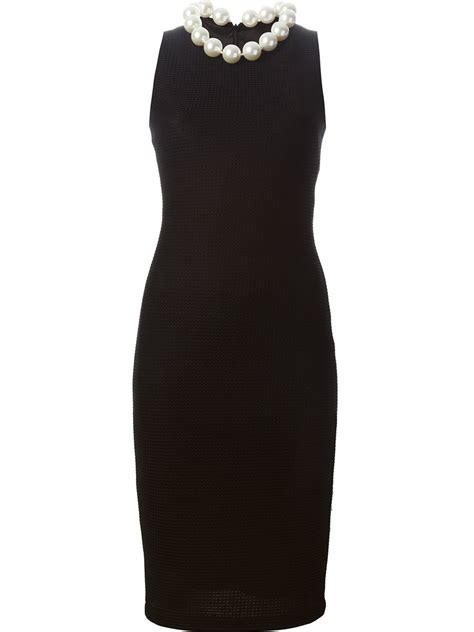 pearl collar boutique moschino faux pearl collar dress in black lyst