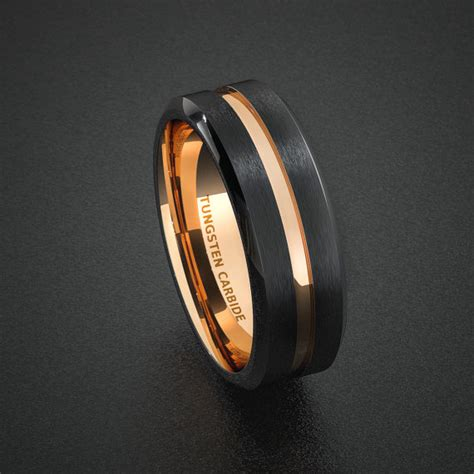 tungsten wedding band mens ring two tone gold by