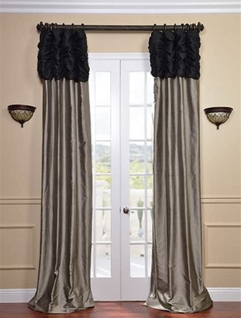 Black And Silver Valance ruched thai silk curtain midnight black header silver grey panel traditional curtains