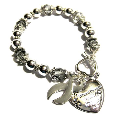 diabetes awareness silver ribbon and charm bracelet
