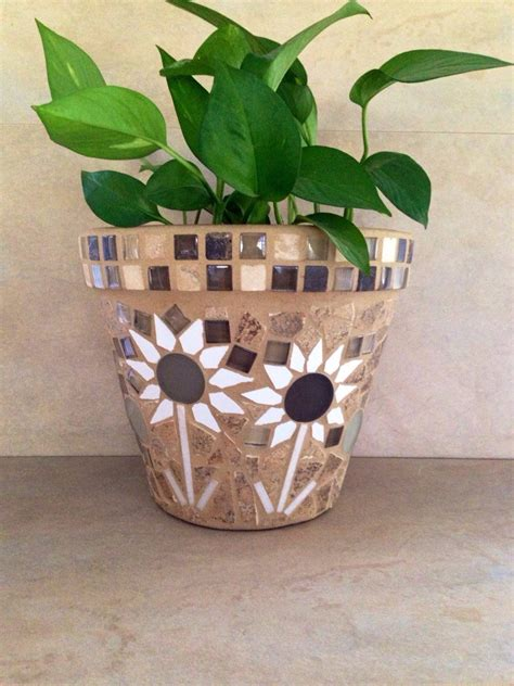 Mosaic Flower Pot Indoor Planter Outdoor Plant Container - mosaic planter large flower pot rustic plant by mozehicdesigns