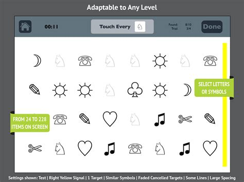 cancellation tasks letter and symbol visual attention therapy app for left neglect for rehab