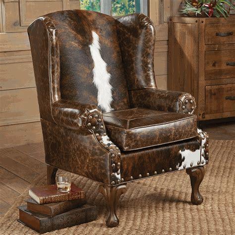 Cowhide Armchair Santa Fe Wing Back Chair