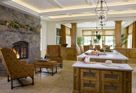 kitchen fireplace houzz weston residence traditional kitchen boston by slc