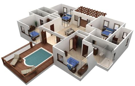 Simple Four Bedroom House Plans by Departamentos Planos Y Casas
