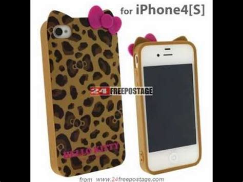 softcase hello iphone 4g 4s brown leopard cat hello pink bow 3d tpu soft