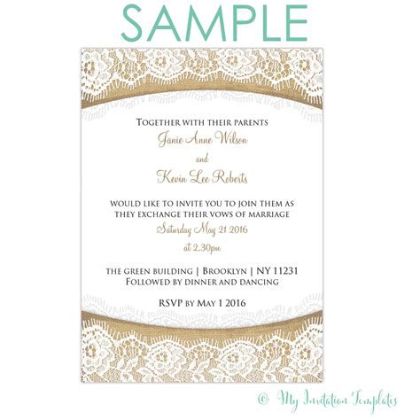 Rustic Burlap and Lace wedding invitation   Free sample