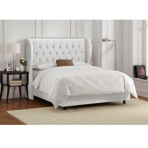 skyline tufted wingback bed in velvet white 41xbedvlvwht