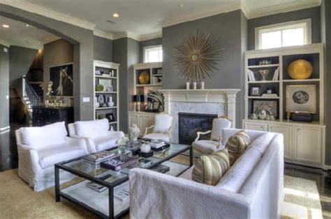 Grey Living Room Mirror White Slipcovered Sofa Transitional Living Room