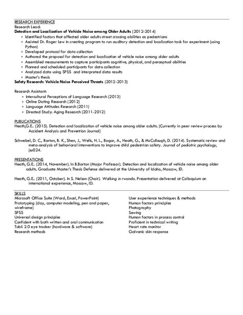 Research Experience Resume by Ux Resume