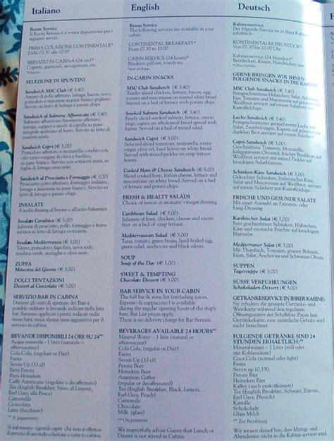 royal caribbean room service menu infinity cruise ship pictures 2017 cruise critic news
