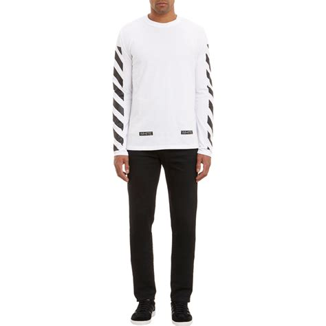 white c o virgil abloh diagonal stripe sleeve t shirt in white for lyst