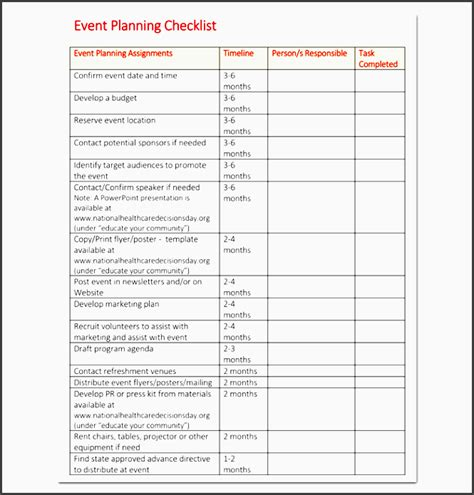 event planning to do list template 10 church event planning checklist exle
