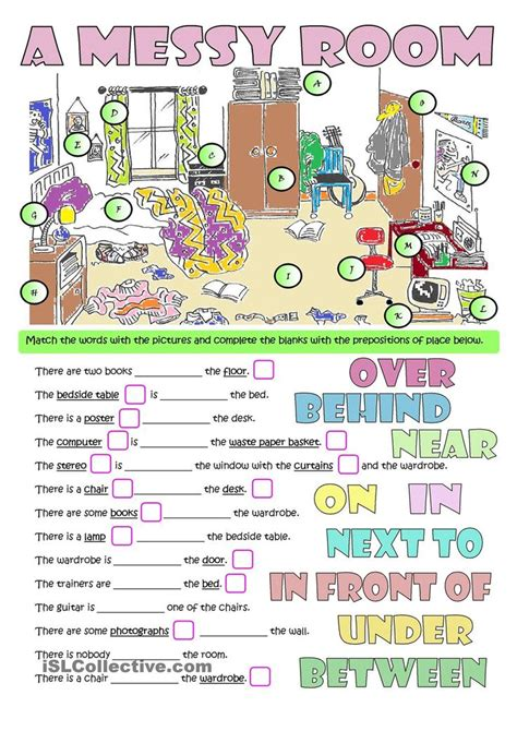 esl printable worksheets prepositions of place a messy room furniture prepositions esl worksheets