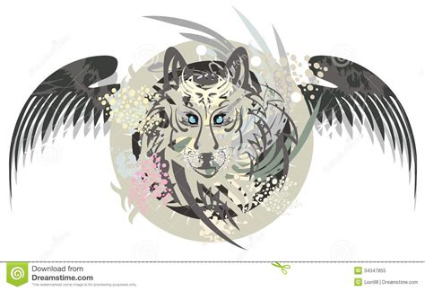wolf head in a circle with wings royalty free stock photo