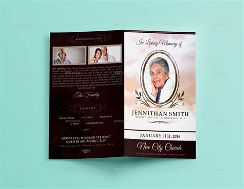 loving memory funeral program brochure template 01 by