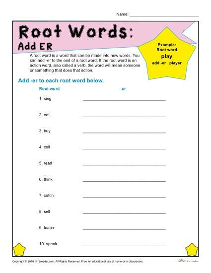 words with pattern er root words worksheets add er