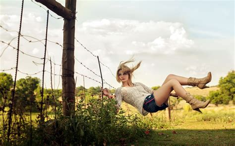 hot swing barb wire fence mood situations flowers blondes models