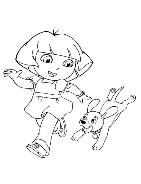 dora puppy coloring page dora walking her dog in dora the explorer coloring page