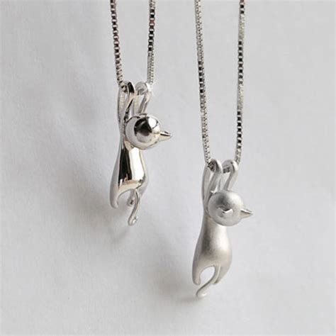 silver plated cat pendant necklace sullen