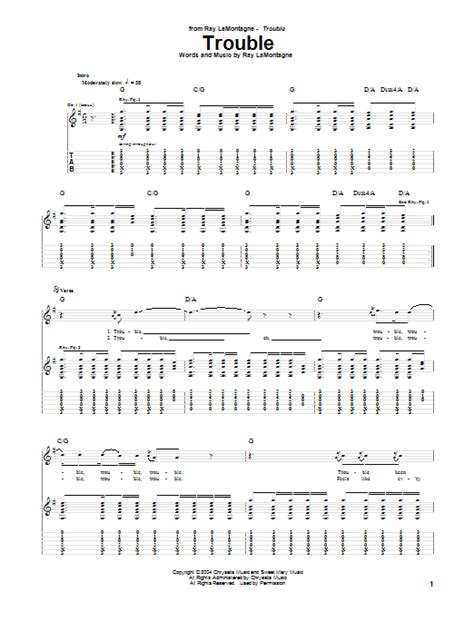 Trouble Guitar Chords