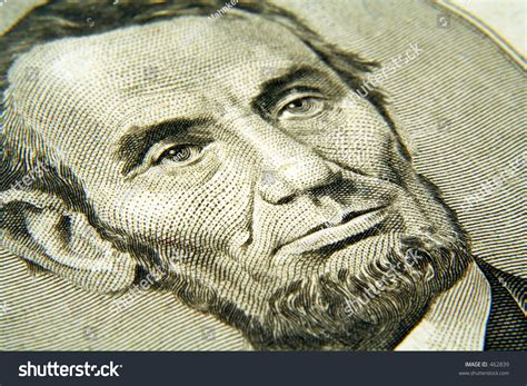 abraham lincoln on the five dollar bill abraham lincoln from the five dollar bill stock photo
