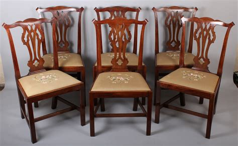 set of six george iii period mahogany country chippendale