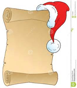 scroll with christmas hat stock photo image 16790680