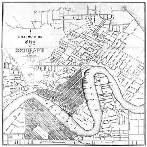 printable map brisbane cbd brisbane city map 1878 canvas print wall art australia