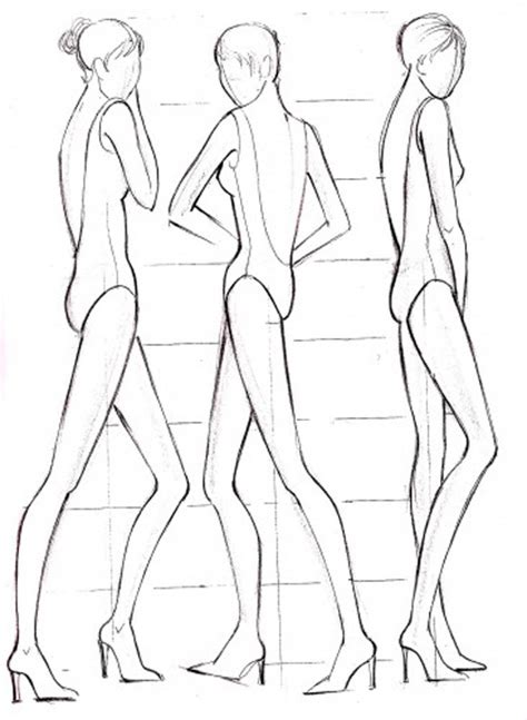 fashion sketches template fashion model outline coloring pages